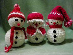 VTG Handcrafted Crochet SNOWMEN Family Trio Figures Christmas Holiday Decor | eBay
