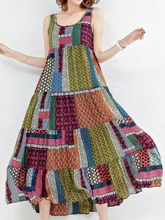 Gracila Bohemian Patchwork Sleeveless O-Neck Long Maxi Dresses Shopping Online - NewChic Mobile.