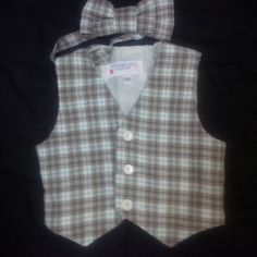 Boy's Tan Plaid Vest and Bowtie Size 2T 3T or 4T by anncraftcorner