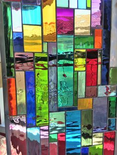 This window adds so much pizazz with water colored glass that shimmers. The size for this beauty is Each Panel comes with rings soldered onto the back and 2 feet of chain. We apply a black patina which really makes the clear glass stand out. Stained Glass Church, Stained Glass Art, Stained Glass Windows, Mosaic Glass, Stained Glass Designs, Stained Glass Projects, Stained Glass Patterns, Mosaic Windows, Deco Paint