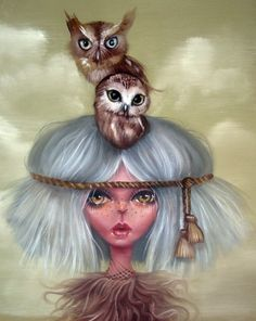 girl and owls by Kurtis Rykovich