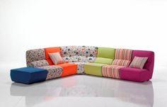 divano componibile con pouf modello Boston di Frales