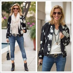womens black bomber jacket with ivory embroidered florals