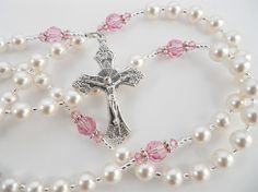 Catholic Baptism or First Communion Rosary for a Baby Girl - Pink Swarovski Crystals and White Pearls - Personalized on Etsy, $41.00