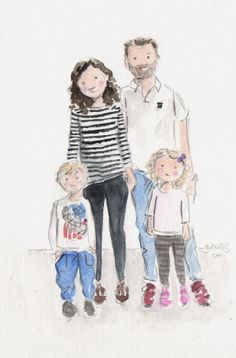 Custom watercolor portrait from an awesome family photo Watercolor Sketch, Watercolor Portraits, Watercolor Illustration, Watercolor Paintings, Winter Illustration, Family Illustration, Portrait Illustration, Family Portrait Drawing, Family Drawing