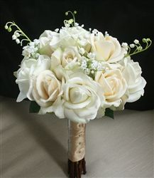medideas.com; natural touch rich bouquet of cream and off white roses with lily of the valley filler