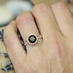 Black Spinel Half Eternity Diamond Engagement Ring by LaMoreDesign... Again I love the idea of an unconventional stone.
