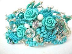 Turquoise beaded bracelet Turquoise cuff turquoise by ibics
