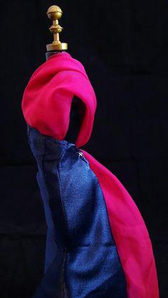Vestido Pink e Azul  #dress #doll #vestido #boneca #barbie #pink #rosa #party #azul #blue