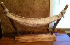 Each of our Hammock Stands share the same basic design, however, each one is different, based on the wood we used.� These are made to order, and are ready to ship within a week of payment. Each Hammock is hand crocheted to order, in a thick soft bulky yarn.� Hammocks may be ordered seperately in our Crocheted props section. � � | Rustic Log Hammock Stand with Hammock