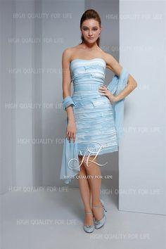 robe de cocktail, robe demoiselle d'honneur, chic, bleu ciel, longueur genou  http://www.robesoire.fr/par-forme/681-a-line-picture-color-sweetheart-knee-length-chiffon-evening-dress-pmp9.html#