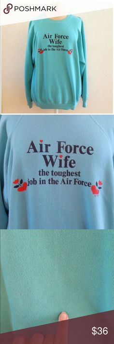 """Air Force Wife Vintage 80s Humor Womens Sweater Made by Hanes 1981 50% Cotton 50% Acrylic Machine Wash and Tumble Dry Made USA Stretchy Some Slight Staining """"Air Force Wife The Toughest Job in the Air Force"""" Tag Size XL  Bust circumference: 46"""" (116.84 cm) Hem circumference: 36"""" (91.44 cm) Length: 27"""" (68.58 cm) Vintage Sweaters Crew & Scoop Necks"""