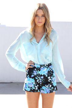 aqua floral shorts <3