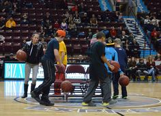 You know you're at a Windsor Express game, when fans play this: dribbling a basketball while playing musical chairs.