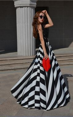 Maxi Dress With Black and White Stripes