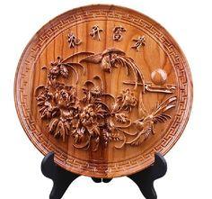 28 см Китае персик дерево резные пион птица Крупных Состояний цветок диск Скульптура