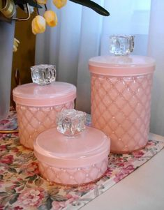 Pink containers.