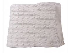 """Snow"" Cable Knit Cotton Throw by Glo Organics"