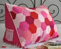 Patchwork Hexie Reading Pillow (Sewing Pattern) - great gift for book lover or tablet users!