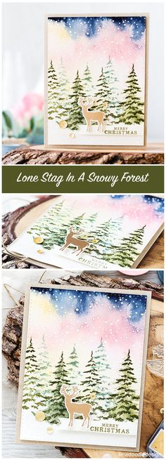 Hero Arts | Lone stag in a snowy forest at sunrise | paper: ARCHES HP #Debby_Hughes (christmas2, wc3)