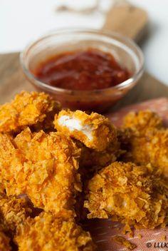 Kipnuggets met een doritos korstje