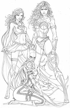 Wonder Woman, Supergirl and Batgirl – black and white – girl power tattoo Adult Coloring Book Pages, Colouring Pages, Coloring Books, Sexy Drawings, Art Drawings, Character Art, Character Design, Superhero Coloring, Arte Dc Comics