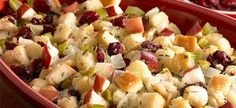 Cranberry Apple Stuffing: This stuffing is sure to become a holiday favorite. Sweet tart cranberries and apples add color, flavor and texture to the stuffing. Stuffing Recipes, Apple Stuffing, Side Dish Recipes, Dinner Recipes, Sweet Tarts, Dried Cranberries, Meals For The Week, Meal Planner, Thanksgiving Recipes