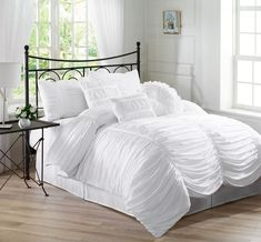 Amazon.com - Chezmoi Collection 7-Piece Chic Ruched Comforter Set, Queen, White - White Ruffle Comforter