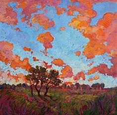 Texas landscape painting with wildflowers, modern oil painting by Erin Hanson