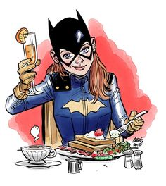 Batgirl of Burnside at brunch--art by Cameron Stewart. Dc Batgirl, Batwoman, Nightwing, Batgirl Logo, Batgirl Cosplay, Batgirl Costume, Barbara Gordon, Comic Books Art, Comic Art