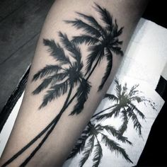 Dark Tall Palm Tree Tattoo For Men On Legs