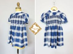 Vintage dress /  girls navy and white dress / cotton by MardyStark, $30.00
