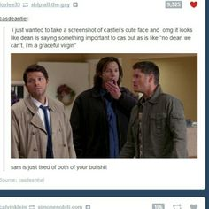 'i'm a graceful virgin' OH MY GOD I CAN'T FUCKING BREATHE AND I DON'T EVEN WATCH SUPERNATURAL THAT MUCH