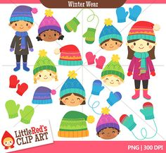 INSTANT DOWNLOAD - Winter Wear Combo Set - Color and Grayscale Clip Art - winter theme - for personal and commercial use