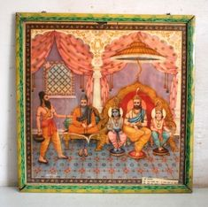 Hindu God Ganesha Playing Having Fun Rare Collectible Vintage Old Religious Print in Old Traditional Antique Rusted Iron Frame #4148