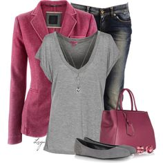 """""""Cranberry and Grey"""" by lagu on Polyvore"""