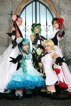 Vocaloid cosplay ~ Meiko, Luka, Rin, Gumi, and Miku | I have been looking for this picture for AGES!