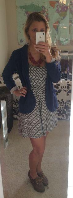 Nautical office look: navy print dress- Target | burgundy necklace- Target | navy blazer- H & M | topsider wedges- Sperrys