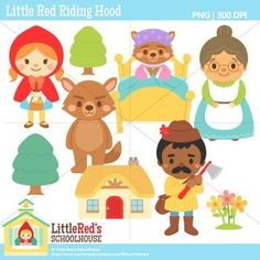 Red Riding Hood Clip Art and Digital Stamps - for personal and commercial use Red Riding Hood Party, Doodle Characters, Cartoon Sketches, Popsicle Stick Crafts, Felt Animals, Digital Stamps, Little Red, Clipart, Paper Dolls