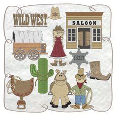 Wild West Applique Machine Embroidery Design set -INSTANT DOWNLOAD Embroidery Ideas, Machine Embroidery Designs, Design Set, Wild West, Comics, Boys, Art, Baby Boys, Art Background