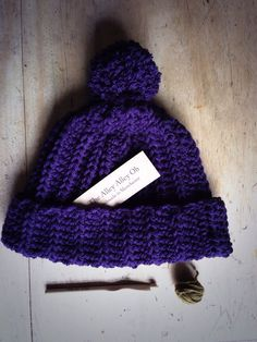 Handmade crochet hipster bobble hat in Damson by The Alley Alley Oh  https://www.etsy.com/uk/shop/TheManchesterBee?ref=hdr_shop_menu