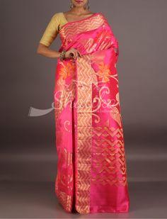 Sujal Bloom Of Bold Flowers Zig Zag Border Pure Tussar Silk Saree