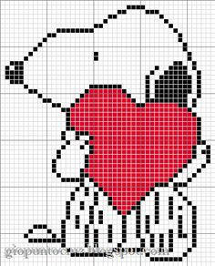 Snoopy valentine cross stitch heart