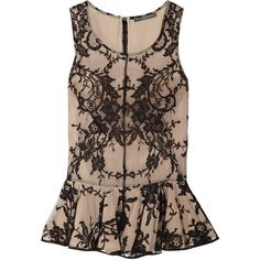 Alexander McQueen Lace and silk peplum top ❤ liked on Polyvore