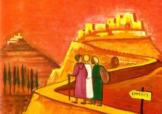 on the road to Emmaus Walk To Emmaus, Road To Emmaus, Christian Stories, Christian Art, Christian Church, Easter Religious, Religious Art, Jesus, Sacred Art