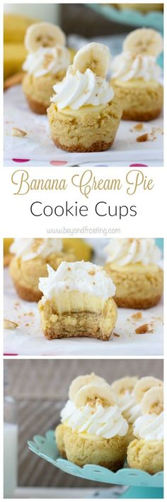 These irresistible Banana Cream Pie Cookie cups combine your favorite parts of banana cream pie but in a mini cookie cup instead of pie crust.
