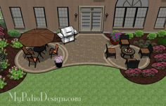 Radial Patio with Circle Paver Patterns - Patio Designs & Ideas Backyard Patio Designs, Backyard Projects, Outdoor Projects, Patio Ideas, Backyard Ideas, Garden Ideas, Backyard Decorations, Diy Patio, Outdoor Ideas