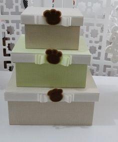Trio de caixas - Patinhas menino