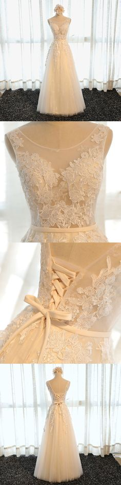 of girl | High quality A line champagne tulle lace long prom dress, cheap evening dress | Online Store Powered by Storenvy