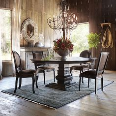 Margot Leather Dining Side Chair In Chaps Havana Brown And Rubbed Black